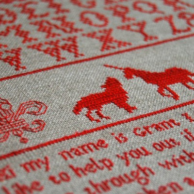 Unicorn Dating #4 | Spike Dennis Cross Stitch Sampler Contemporary