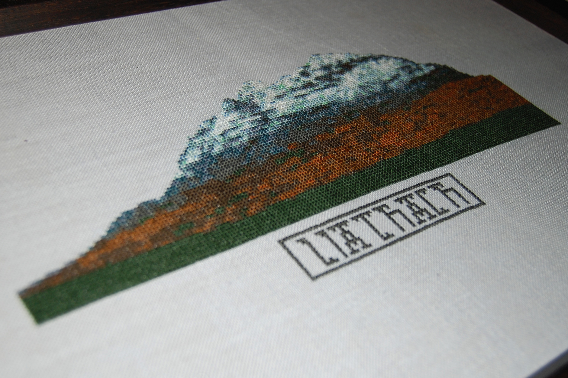 Liathach - Cross Stitched Embroidery Stitch Mountains Scotland Torridon