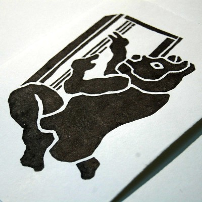 Russian Cat Print Woodcut