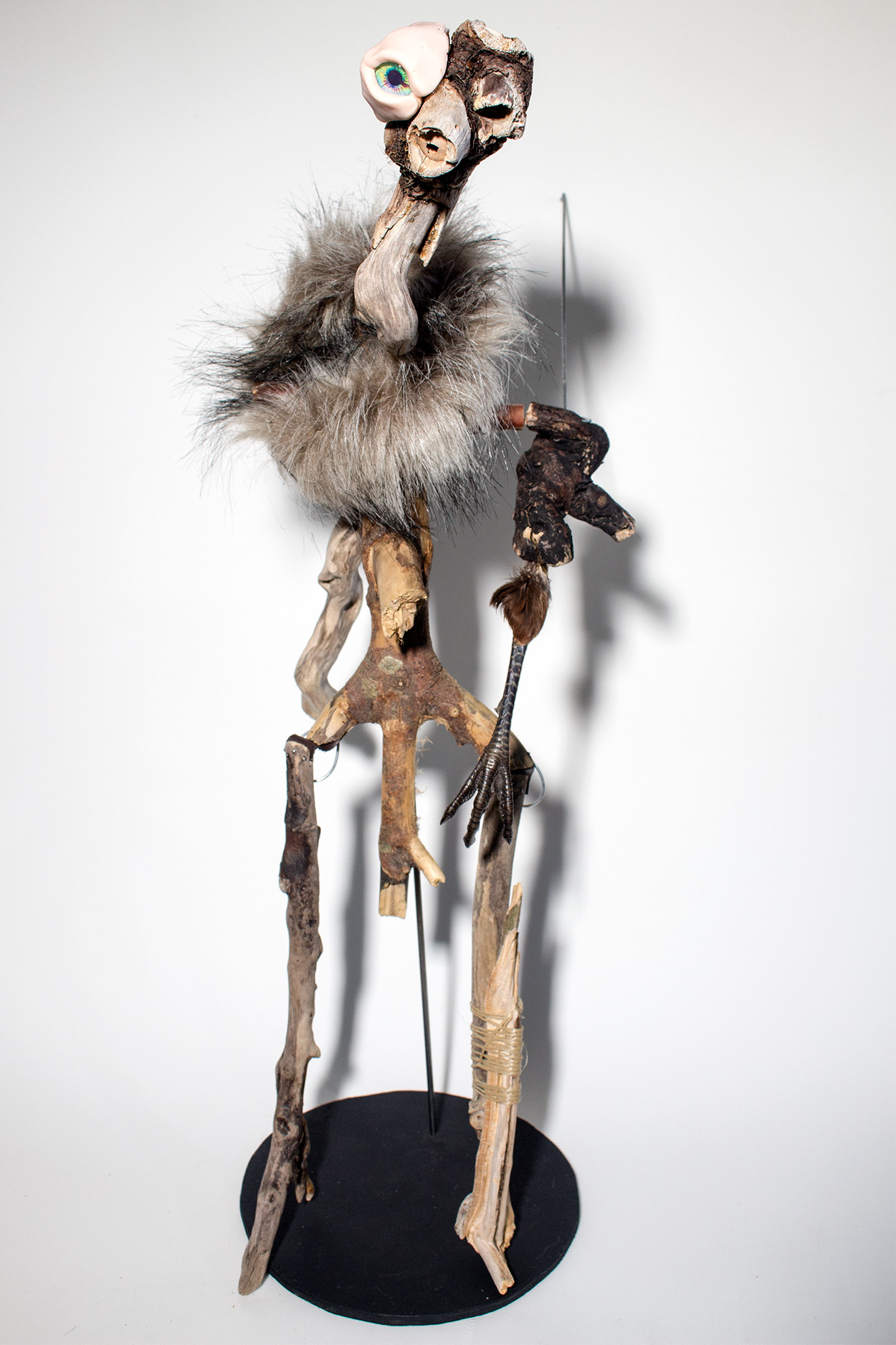 A creepy and uncanny puppet made from driftwood