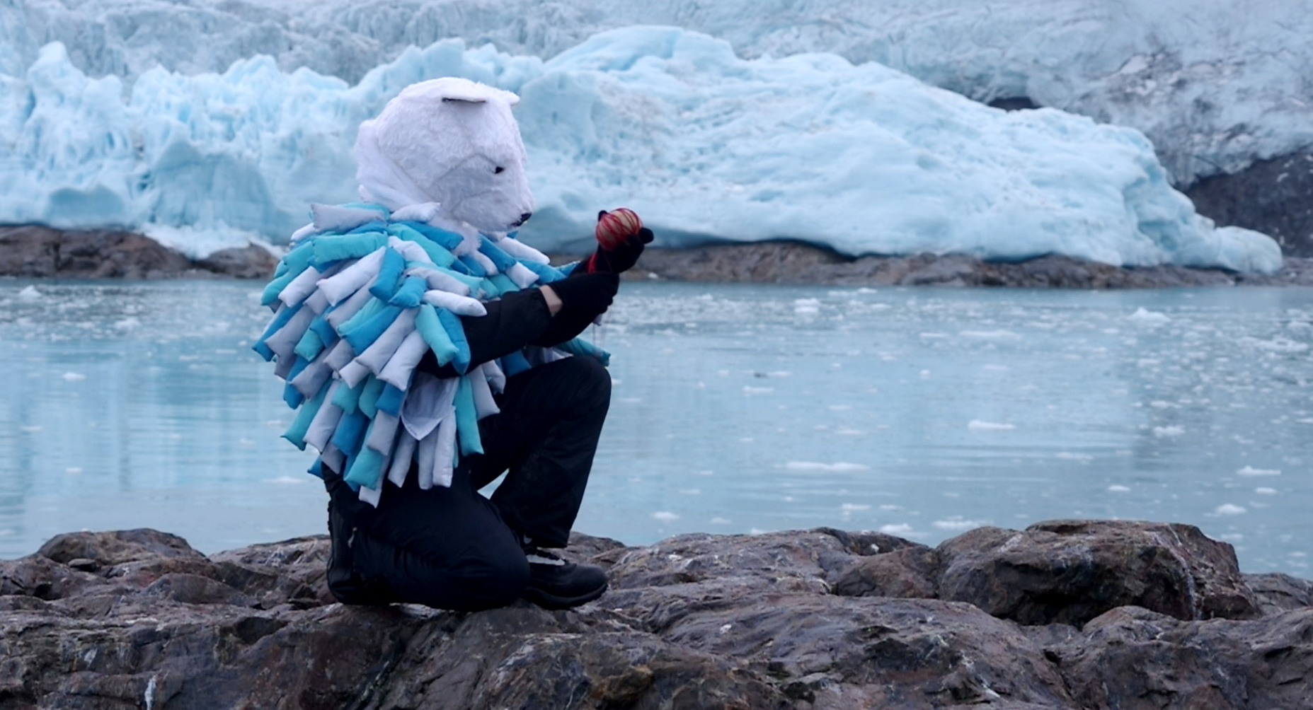 Video still from the arctic wild man