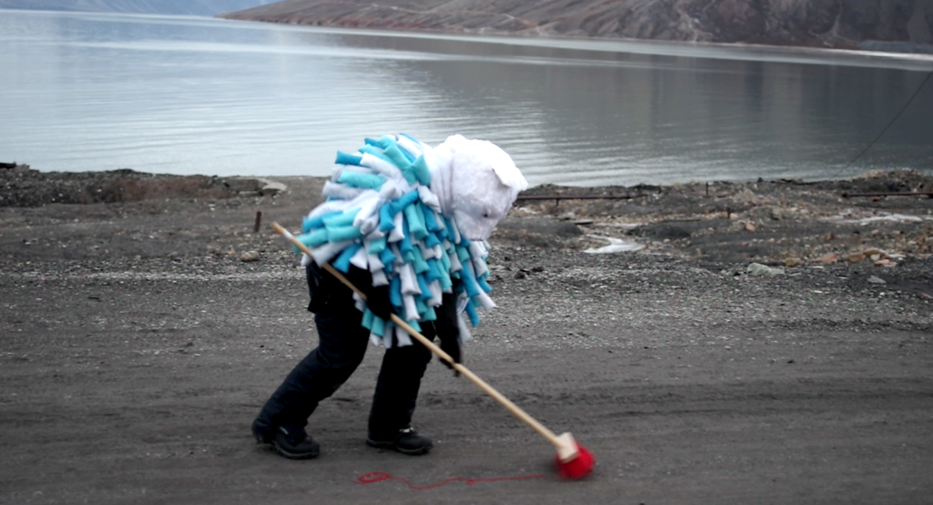 Performance art filmed in Pyramiden, Svalbard