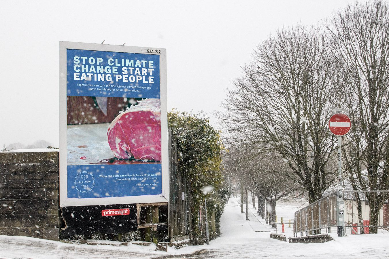 S.P.E.W Billboard in Cardiff on a Snow Day